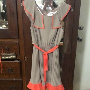 Taupe and orange Esley boutique dress